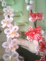 орхидея выполненая из бисера